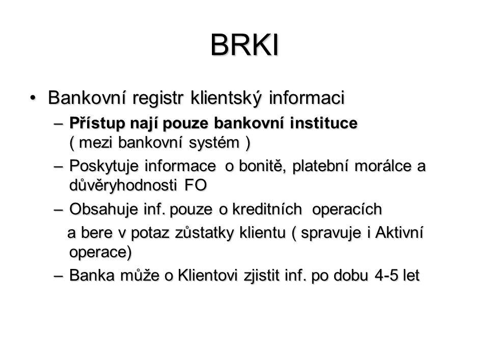 BRKI Bankovní registr klientský informaci