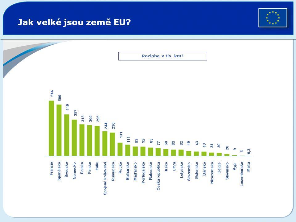 Jak velké jsou země EU Rozloha v tis. km² 544 506 410 357 313 305 295