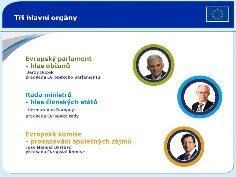 Tři hlavní orgány Evropský parlament - hlas občanů Jerzy Buzek