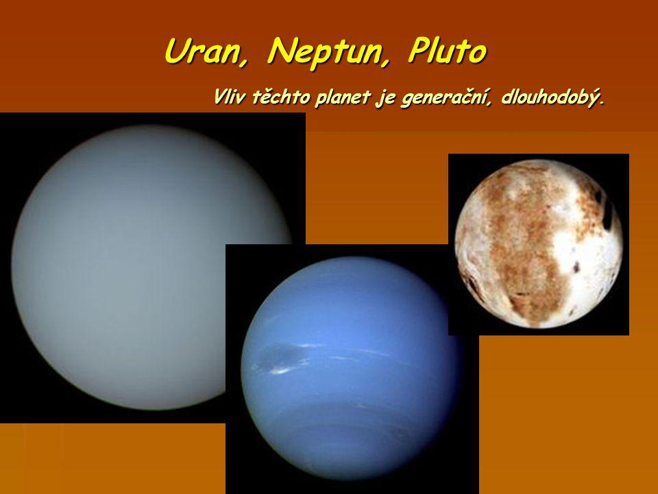 Uran, Neptun, Pluto Vliv těchto planet je generační, dlouhodobý.