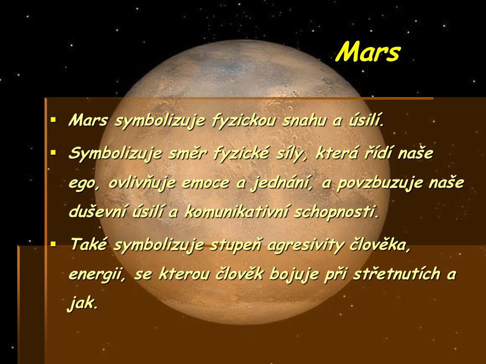 Mars Mars symbolizuje fyzickou snahu a úsilí.