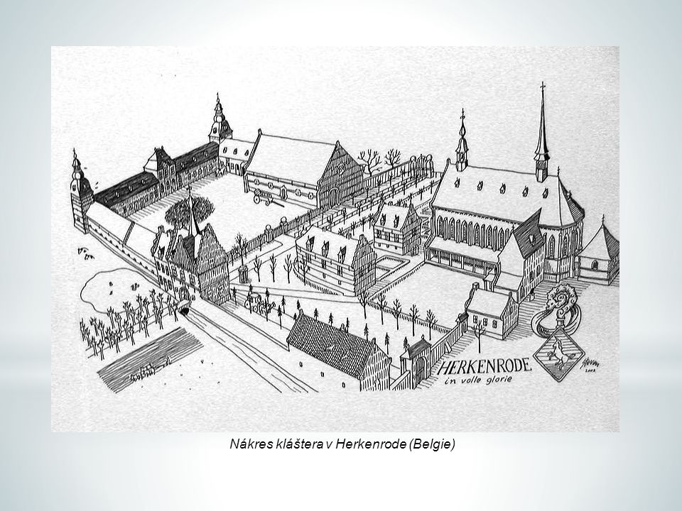 Nákres kláštera v Herkenrode (Belgie)