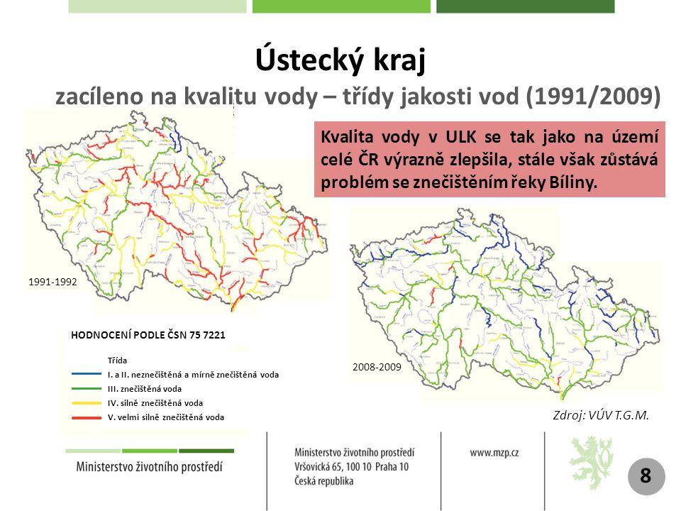 Ústecký kraj zacíleno na kvalitu vody – třídy jakosti vod (1991/2009)