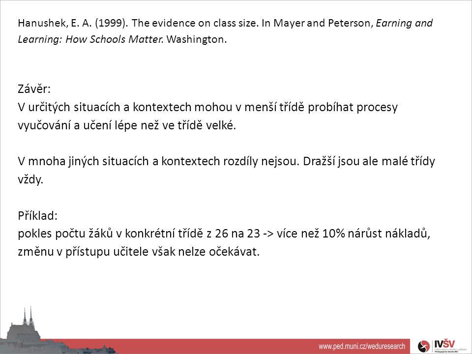 Hanushek, E. A. (1999). The evidence on class size