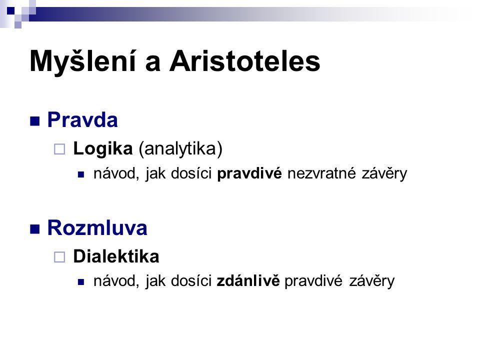 Myšlení a Aristoteles Pravda Rozmluva Logika (analytika) Dialektika