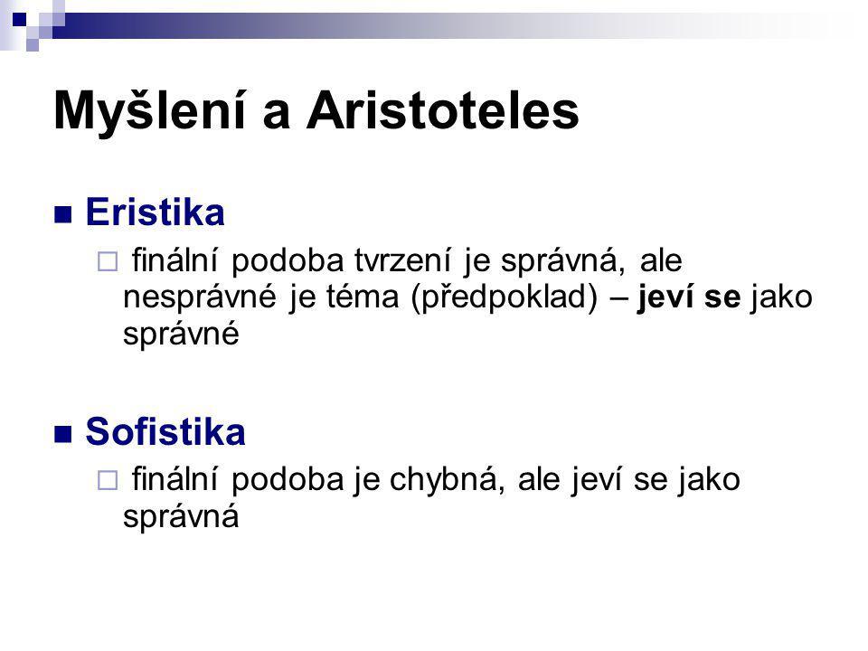 Myšlení a Aristoteles Eristika Sofistika