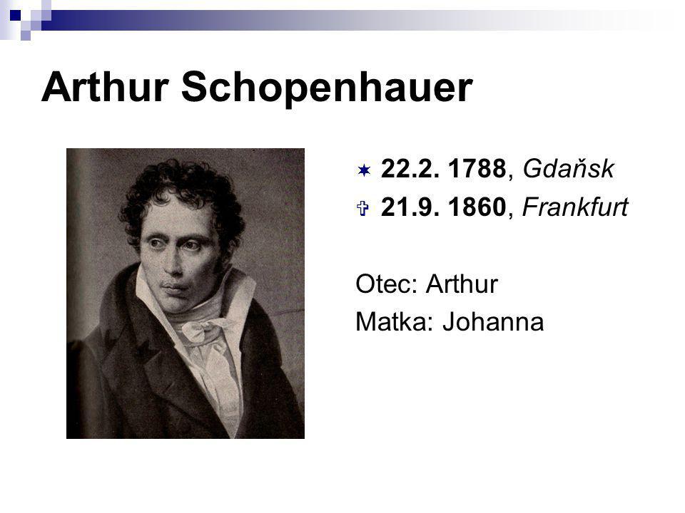 Arthur Schopenhauer 22.2. 1788, Gdaňsk 21.9. 1860, Frankfurt