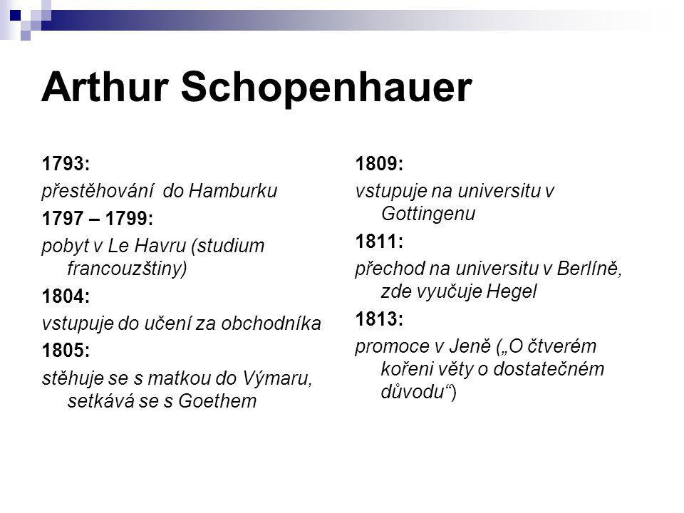 Arthur Schopenhauer 1793: přestěhování do Hamburku 1797 – 1799: