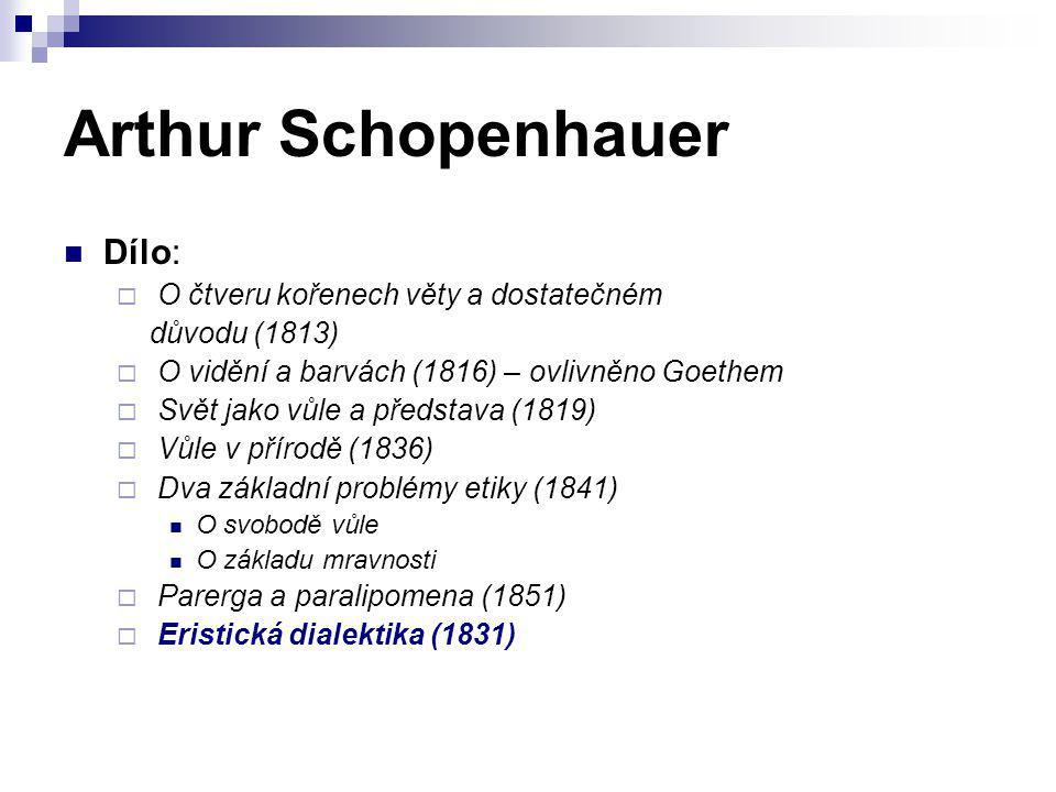 Arthur Schopenhauer Dílo: O čtveru kořenech věty a dostatečném