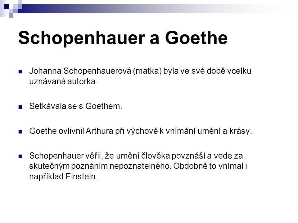 Schopenhauer a Goethe Johanna Schopenhauerová (matka) byla ve své době vcelku uznávaná autorka. Setkávala se s Goethem.