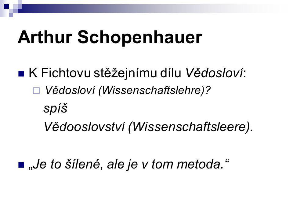 Arthur Schopenhauer K Fichtovu stěžejnímu dílu Vědosloví: spíš