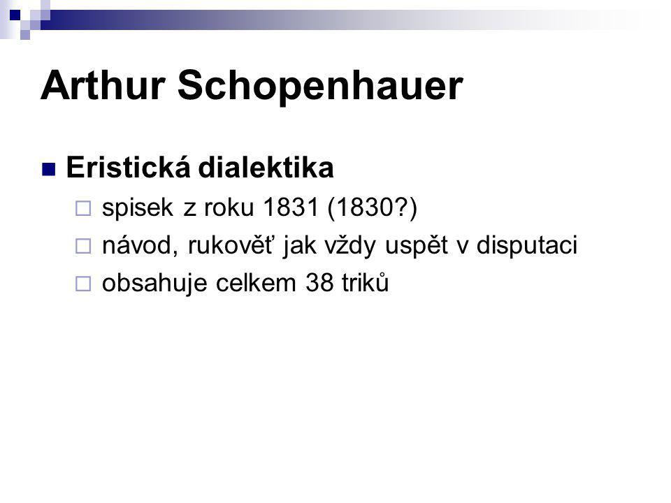 Arthur Schopenhauer Eristická dialektika spisek z roku 1831 (1830 )