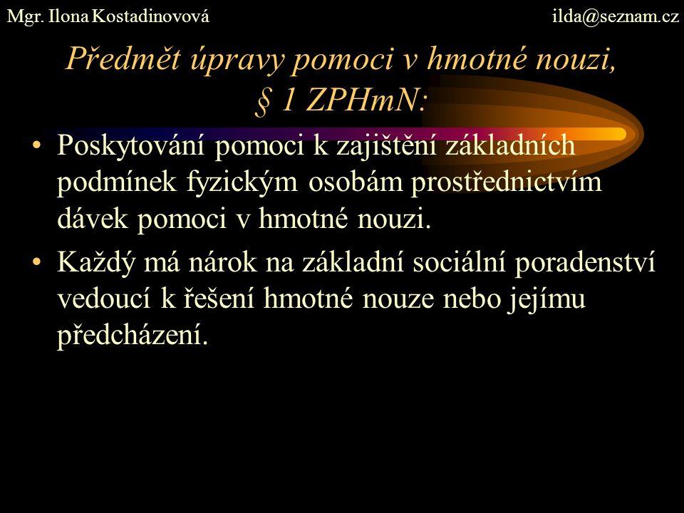 Předmět úpravy pomoci v hmotné nouzi, § 1 ZPHmN: