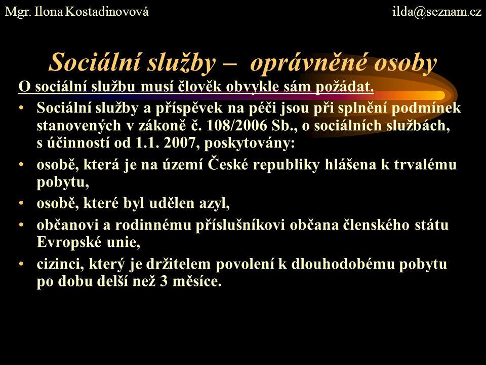 Sociální služby – oprávněné osoby
