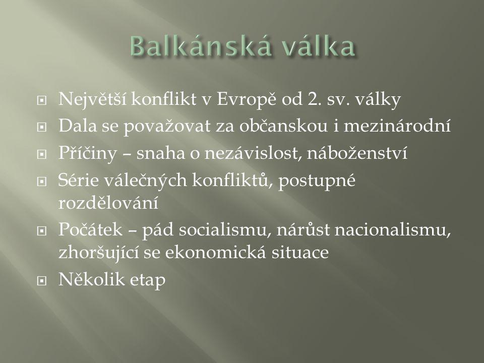 Balkánská válka Největší konflikt v Evropě od 2. sv. války