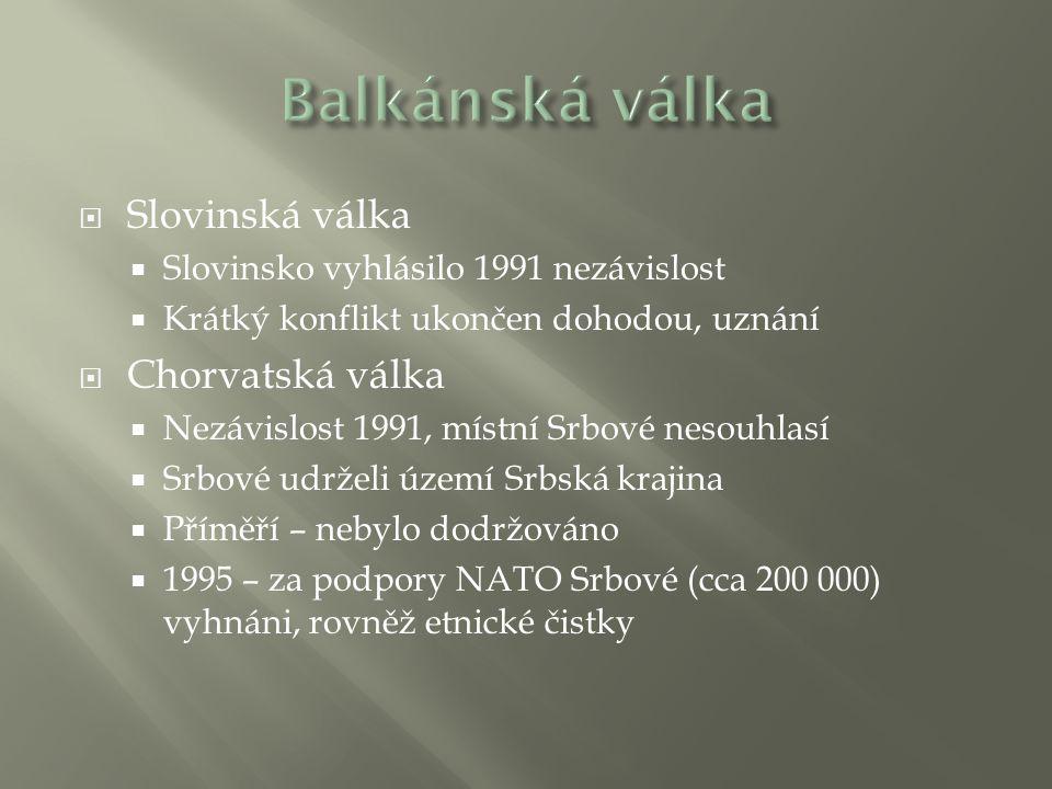 Balkánská válka Slovinská válka Chorvatská válka