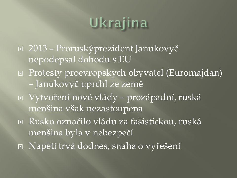 Ukrajina 2013 – Proruskýprezident Janukovyč nepodepsal dohodu s EU