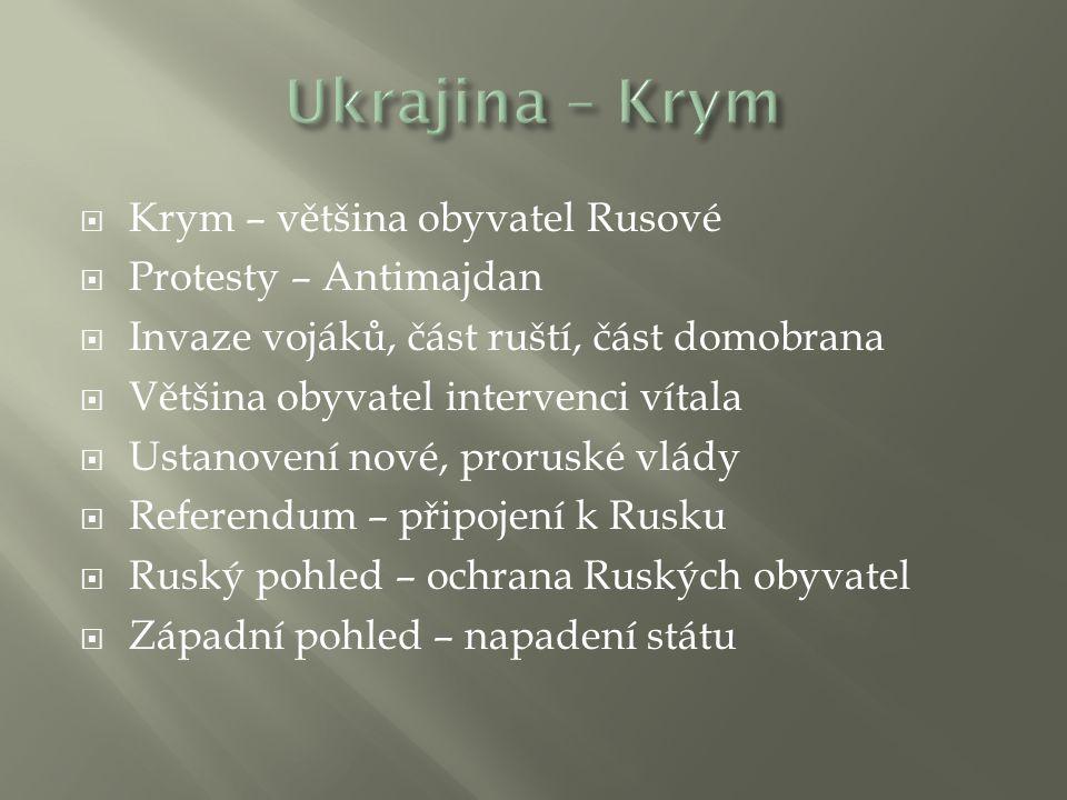 Ukrajina – Krym Krym – většina obyvatel Rusové Protesty – Antimajdan