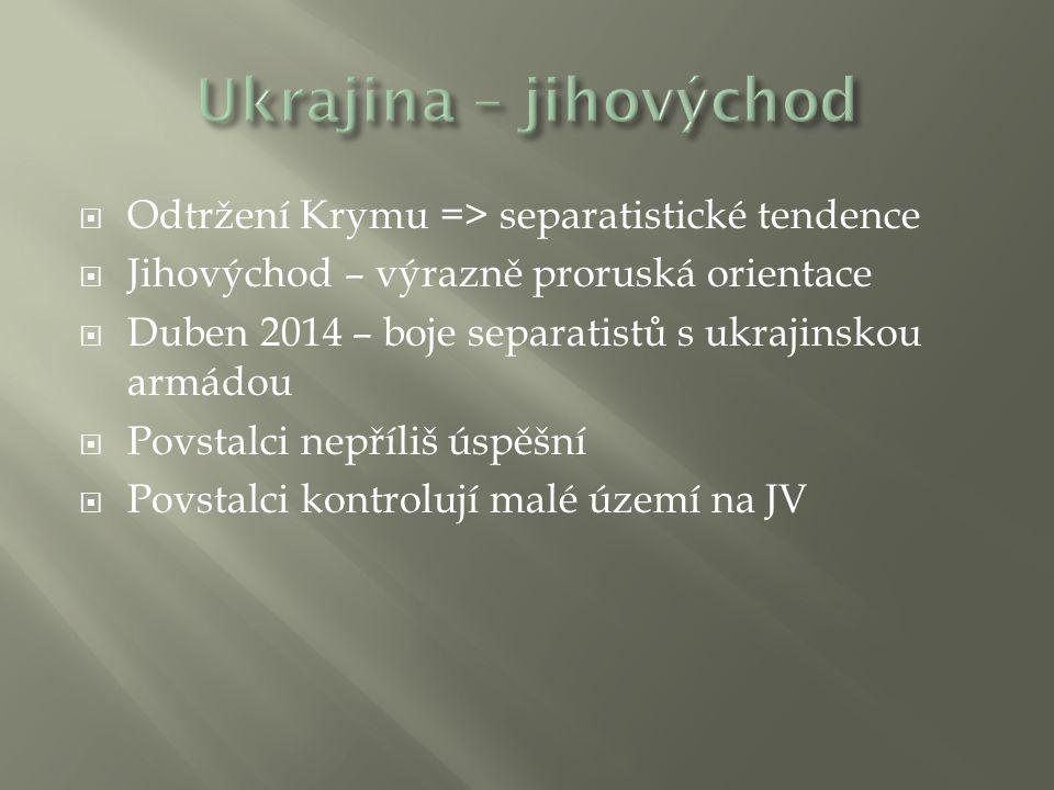 Ukrajina – jihovýchod Odtržení Krymu => separatistické tendence