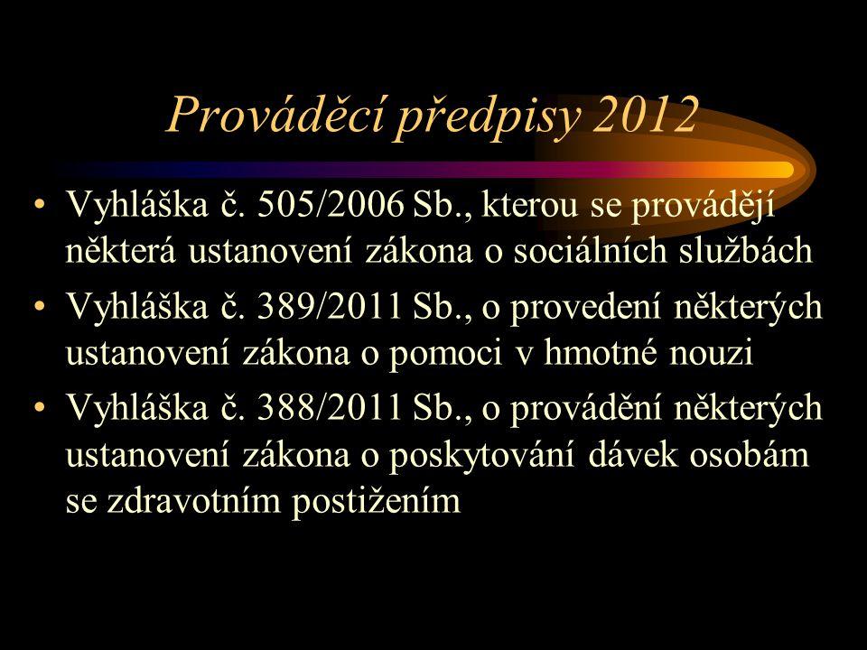 Prováděcí předpisy 2012 Vyhláška č. 505/2006 Sb., kterou se provádějí některá ustanovení zákona o sociálních službách.