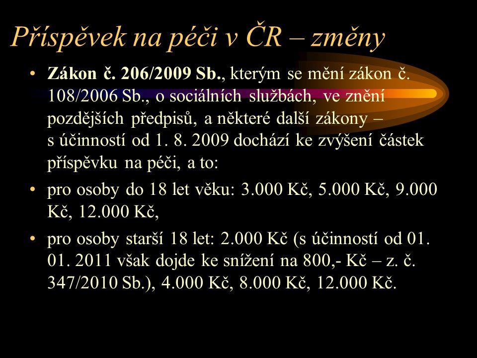 Příspěvek na péči v ČR – změny