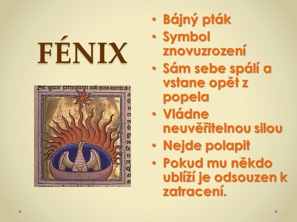 FÉNIX Bájný pták Symbol znovuzrození