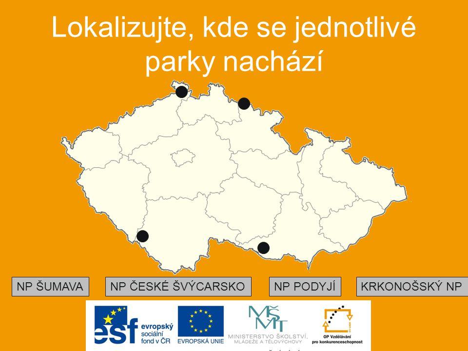 Lokalizujte, kde se jednotlivé parky nachází