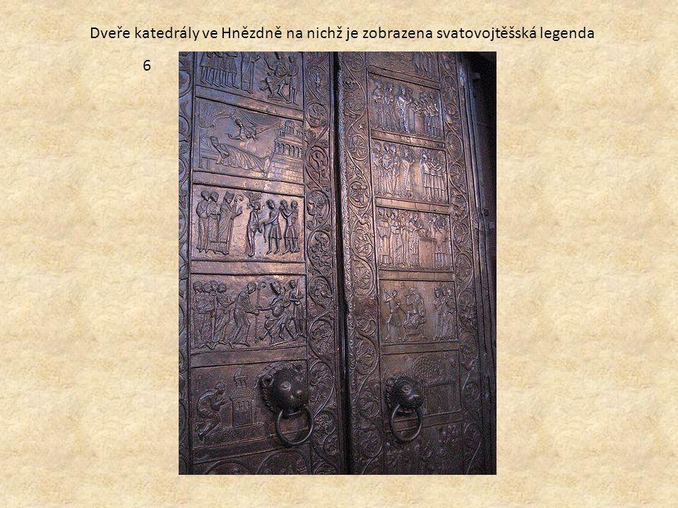 Dveře katedrály ve Hnězdně na nichž je zobrazena svatovojtěšská legenda