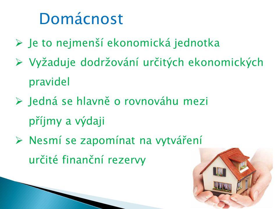 Domácnost Je to nejmenší ekonomická jednotka