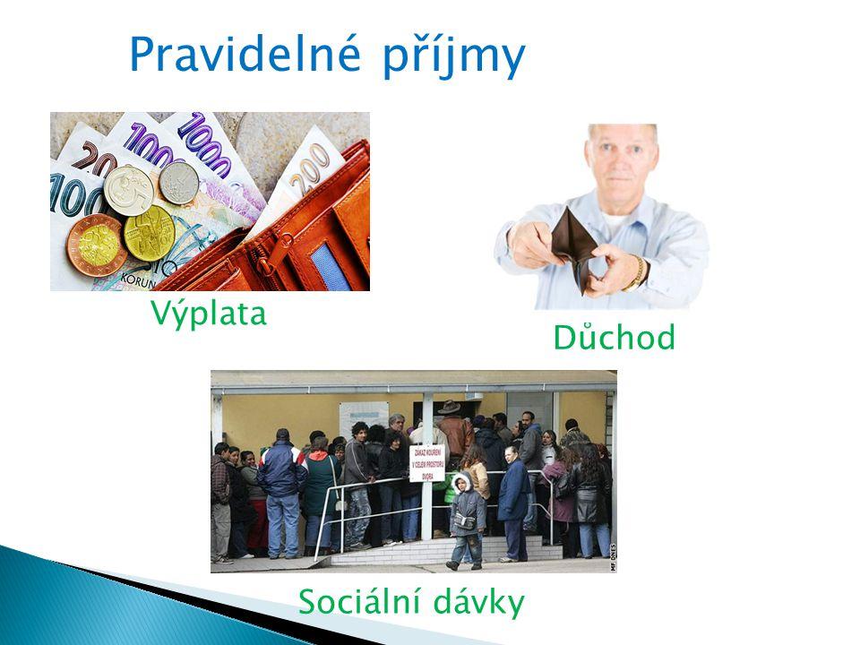 Pravidelné příjmy Výplata Důchod Sociální dávky