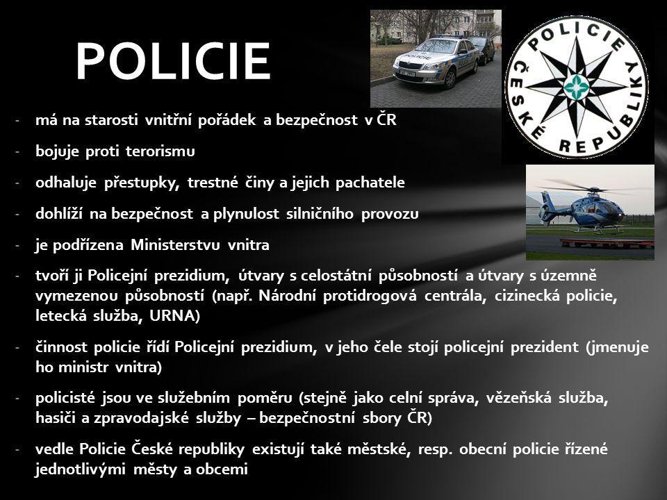 POLICIE má na starosti vnitřní pořádek a bezpečnost v ČR