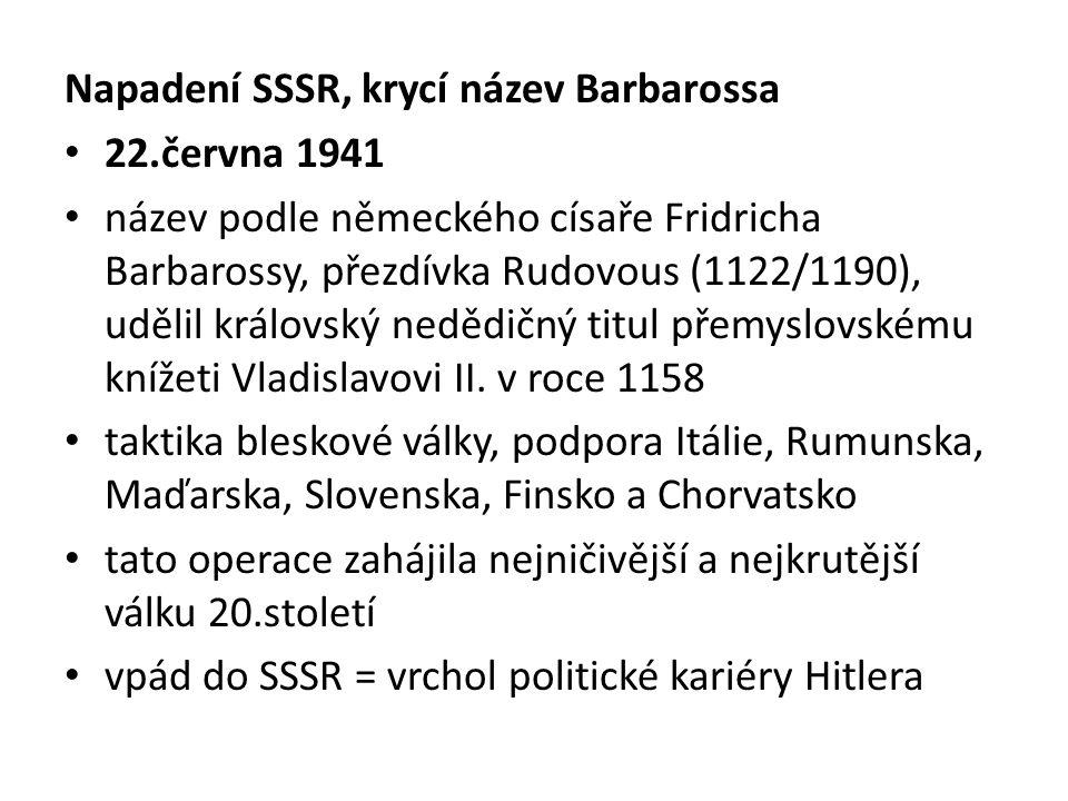 Napadení SSSR, krycí název Barbarossa