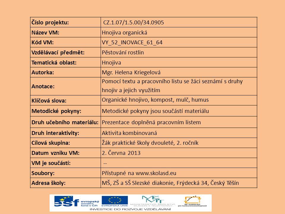 Číslo projektu: CZ.1.07/1.5.00/34.0905. Název VM: Hnojiva organická. Kód VM: VY_52_INOVACE_61_64.