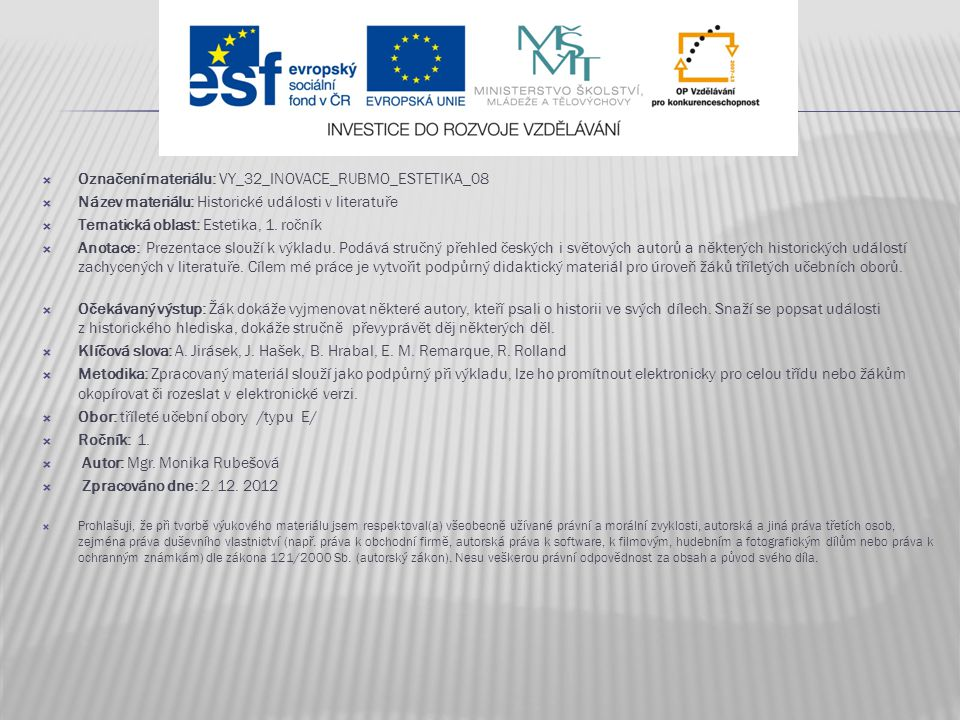 Označení materiálu: VY_32_INOVACE_RUBMO_ESTETIKA_08