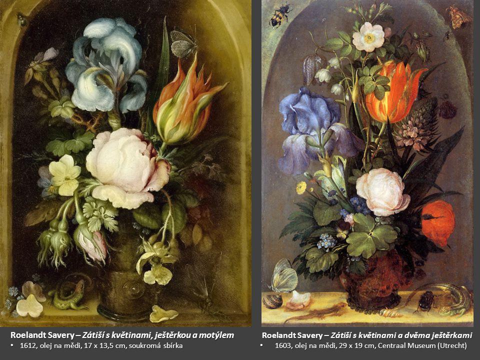 Roelandt Savery – Zátiší s květinami, ještěrkou a motýlem