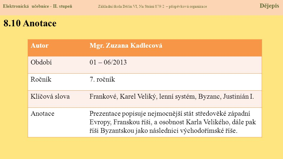 8.10 Anotace Autor Mgr. Zuzana Kadlecová Období 01 – 06/2013 Ročník
