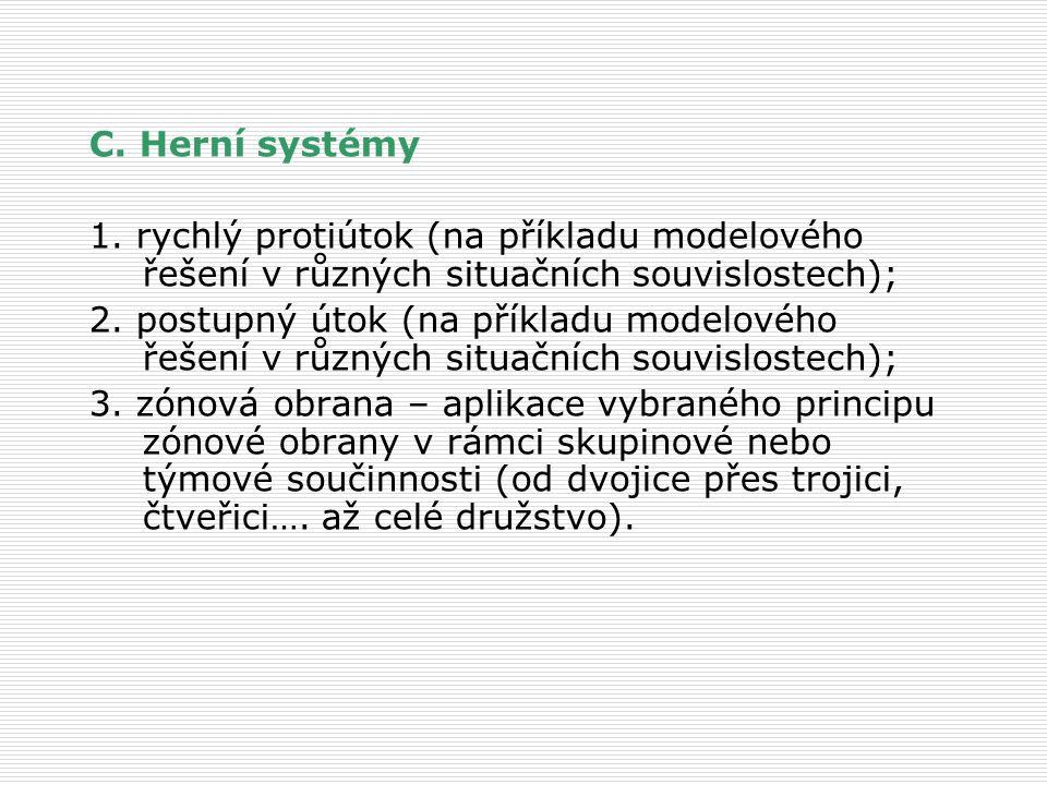 C. Herní systémy 1. rychlý protiútok (na příkladu modelového řešení v různých situačních souvislostech);