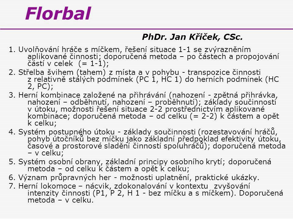 Florbal PhDr. Jan Křiček, CSc.