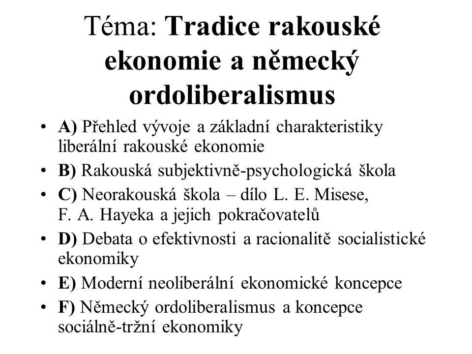 Téma: Tradice rakouské ekonomie a německý ordoliberalismus