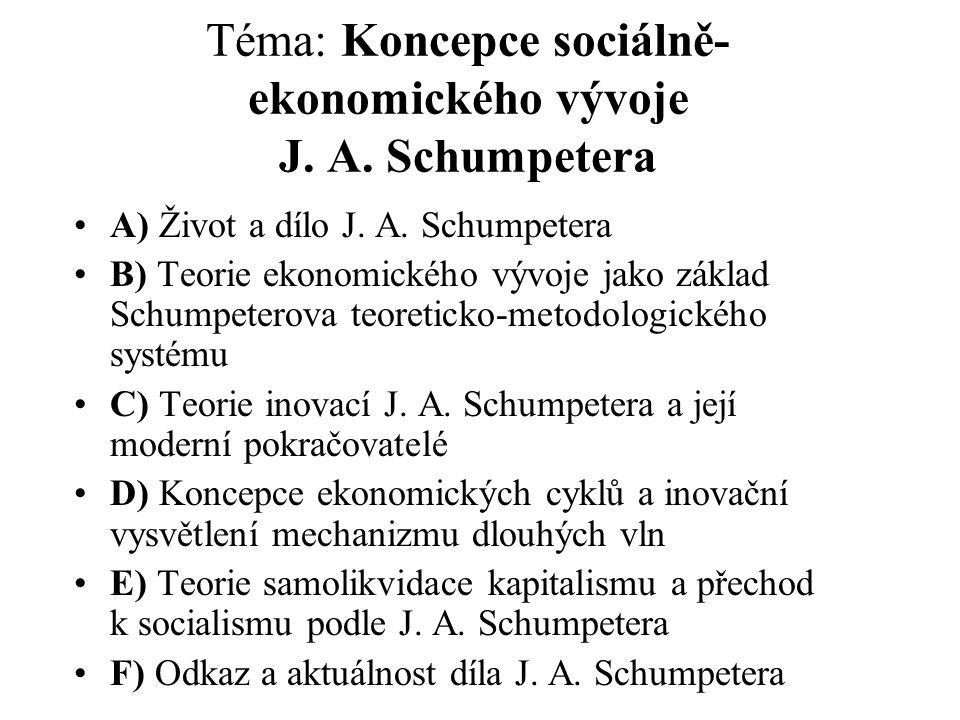 Téma: Koncepce sociálně-ekonomického vývoje J. A. Schumpetera
