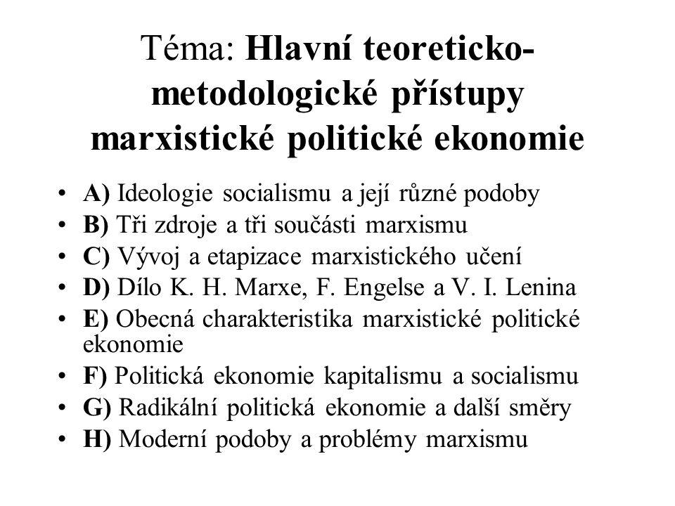 Téma: Hlavní teoreticko-metodologické přístupy marxistické politické ekonomie