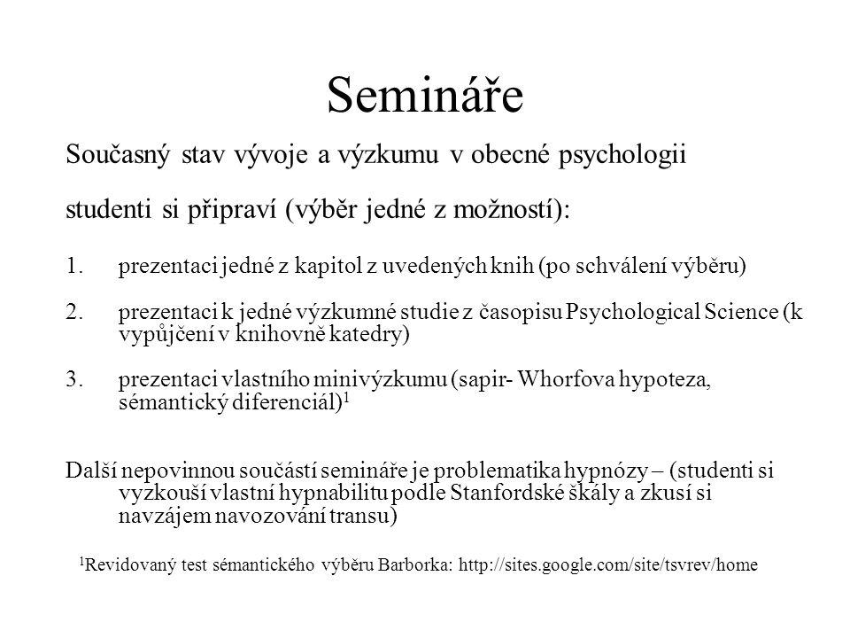 Semináře Současný stav vývoje a výzkumu v obecné psychologii