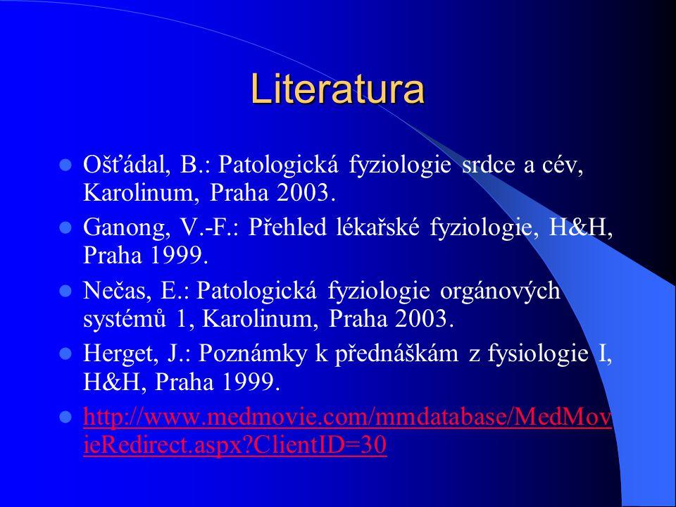 Literatura Ošťádal, B.: Patologická fyziologie srdce a cév, Karolinum, Praha 2003. Ganong, V.-F.: Přehled lékařské fyziologie, H&H, Praha 1999.