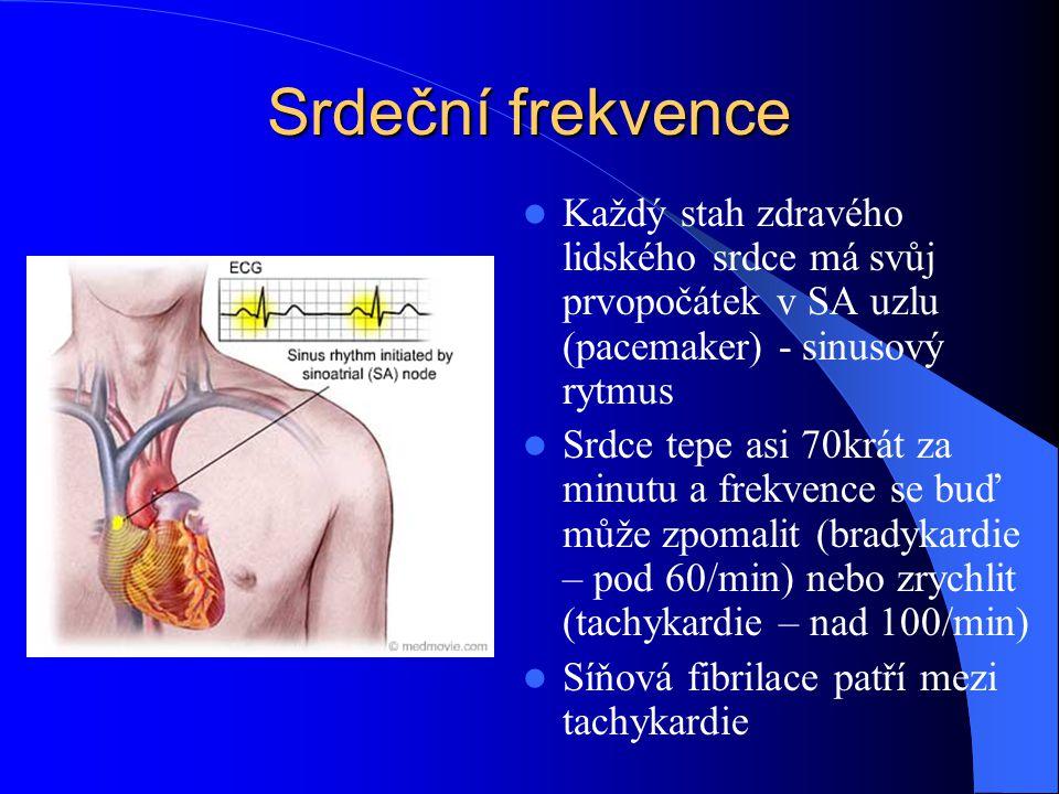 Srdeční frekvence Každý stah zdravého lidského srdce má svůj prvopočátek v SA uzlu (pacemaker) - sinusový rytmus.