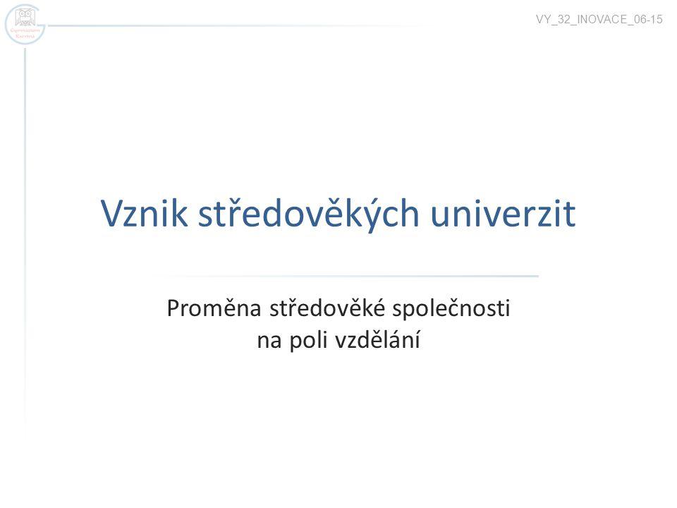Vznik středověkých univerzit