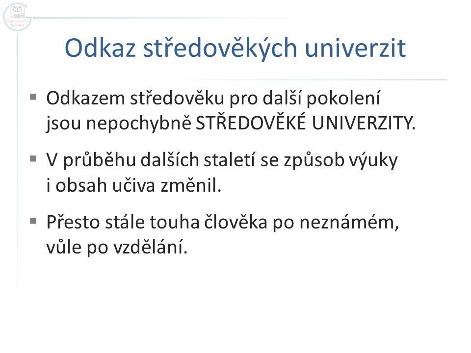 Odkaz středověkých univerzit