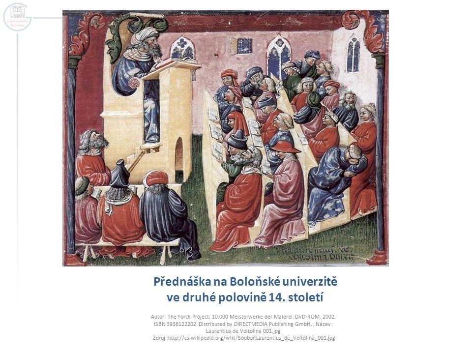 Přednáška na Boloňské univerzitě ve druhé polovině 14. století