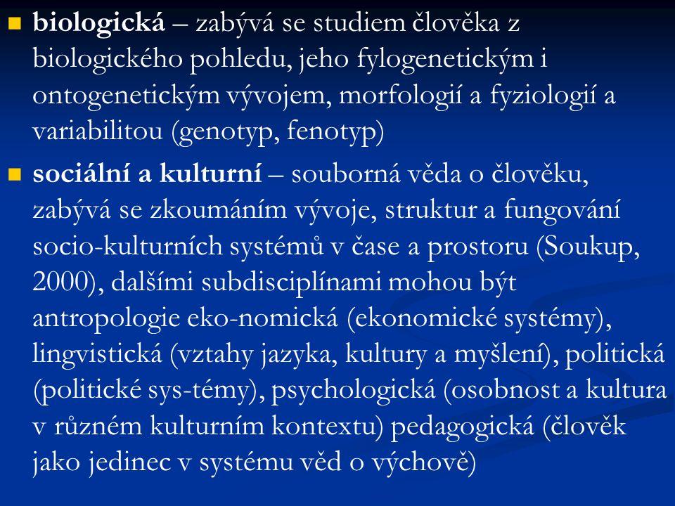 biologická – zabývá se studiem člověka z biologického pohledu, jeho fylogenetickým i ontogenetickým vývojem, morfologií a fyziologií a variabilitou (genotyp, fenotyp)