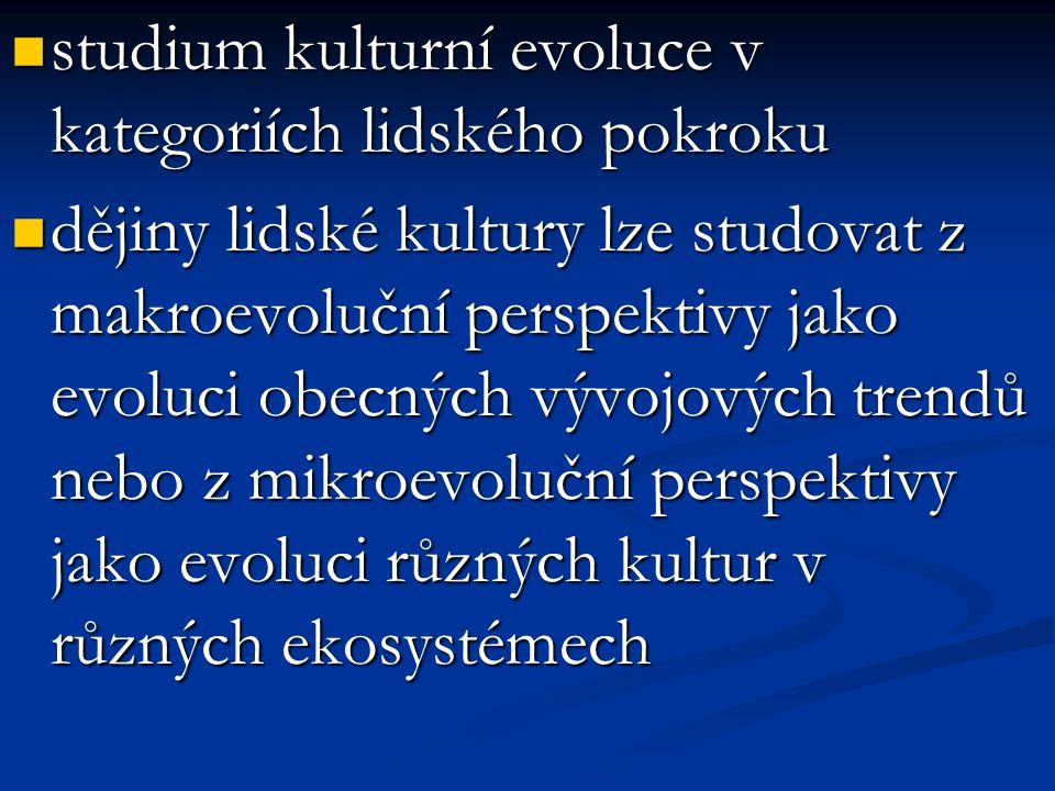 studium kulturní evoluce v kategoriích lidského pokroku