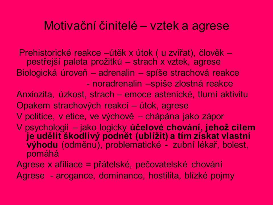 Motivační činitelé – vztek a agrese